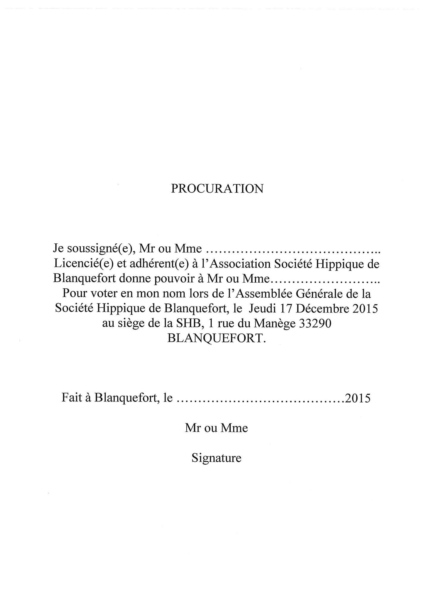 procuration - Société Hippique de Blanquefort